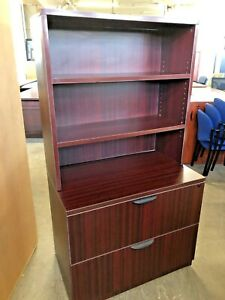2 Drawer Lateral Size File Cabinet W hutch By Marquis Office Furn In Mahogany