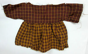 Grungy Tea Stained 2 Toned Rust Red Brown Plaid Simple Primitive Doll Dress 1