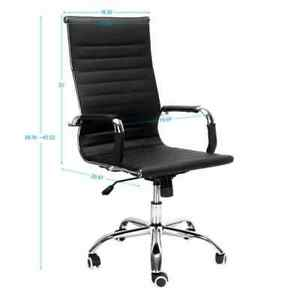 Pu Leather High Back Swivel Executive Modern Office Desk Computer Chair Black
