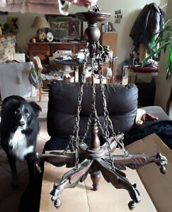 French Luster Wood Carved Gothic Dragons 6 Arms Lamp Chandelier Griffin Gargoyle
