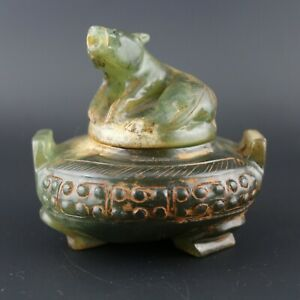 3 5 Chinese Old Green Jade Hand Carved Beast Statue Incense Burner Collect