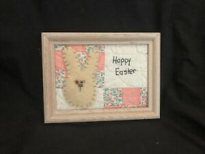 Primitive Framed Stitchery Quilt Wool Bunny Happy Easter