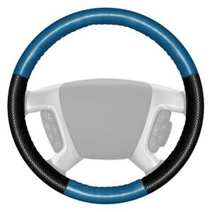 Europerf Perforated Sea Blue Steering Wheel Cover W Black Sides