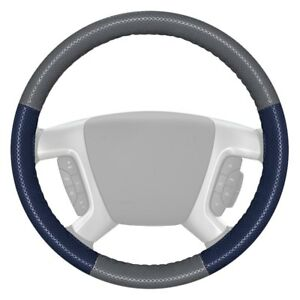 Wheelskins Europerf Perforated Gray Steering Wheel Cover W Blue Sides Color