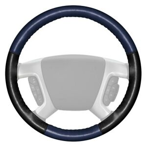 Wheelskins Eurotone Two color Blue Steering Wheel Cover W Black Sides Color