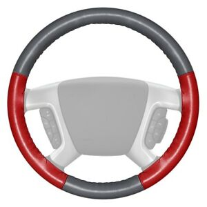 Wheelskins Eurotone Two color Gray Steering Wheel Cover W Red Sides Color