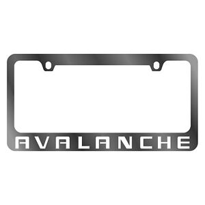 Gm 2 hole Polished License Plate Frame W White Chevy Avalanche Logo