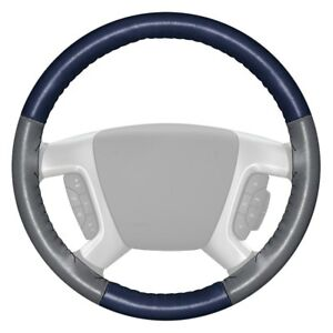Wheelskins Eurotone Two color Blue Steering Wheel Cover W Gray Sides Color