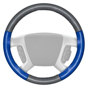 Wheelskins Eurotone Two color Gray Steering Wheel Cover W Cobalt Sides Color