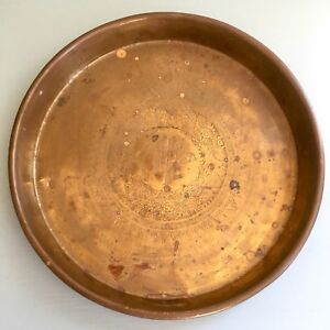 Antique Vintage Chinese Asian Brass Copper Etched Tray Dish Plate Dragons