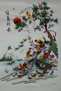 Antique Chinese Silk Hand Embroidery Birds Tree And Sun Textile Panel Art