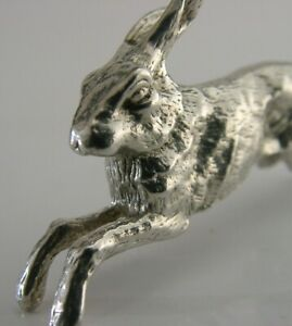 Quality English Cast Solid Sterling Silver Miniature Hare Animal Figure 1984
