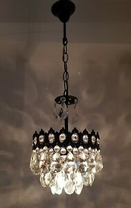 Antique Vintage Brass Crystals French Small Chandelier Lighting Ceiling Lamp
