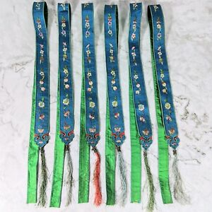 Antique China Chinese Blue Silk Ribbon Sashes W Floral Embroidery 37 X 1 25