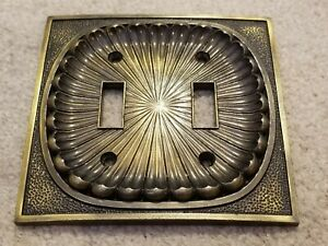 Vintage Shell American Amer Tack Antique Brass Double Toggle Light Switch Plate
