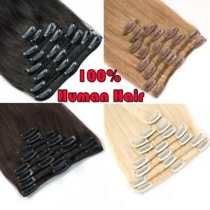 CLEARANCE Clip in Human Hair Extensions Full Head 100% Real Remy Hair Long Soft $9.37