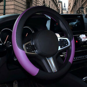 Universal 38cm Suv Car Steering Wheel Cover Purple Leather Anti slip Protector