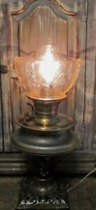 1895 E Miller Juno Oil Kerosene Lamp Electrified Cast Iron Base