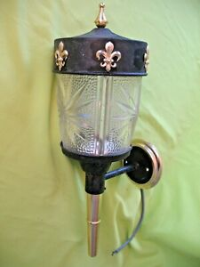 Old Vintage Retro Mid Century Cut Glass Carriage Lamp Wall Or Porch Light
