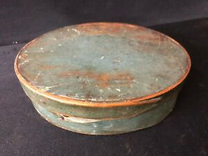 Antique Oval Shaker Pantry Box In Wonderful Blue Green Paint