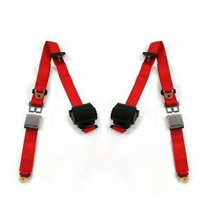 Camaro 1967 1969 Airplane 3pt Red Retractable Bucket Seatbelt Kit 2 Belts