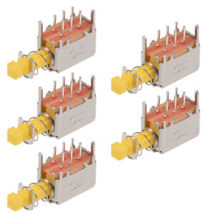 Push Button Switch Dpdt 6 Pin 1 Position Self locking Yellow 5pcs