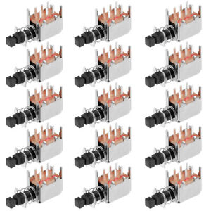 Push Button Switch Dpdt 6 Pin 1 Position Self locking Black 15pcs
