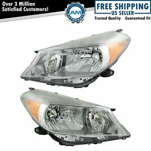 Headlight Headlamp Smoke Trim Left Right Pair For 12 14 Toyota Yaris Hatchback