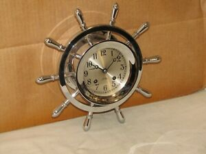 Chelsea Vintage Ships Bell Clock 4 1 2 In Pilot Model Hinged 1960 Restored