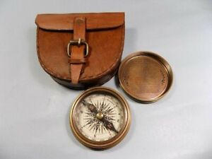 Authentic Vintage Style Brass Pocket Compass With Leather Case