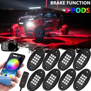 8 Pod Neon Led Rock Light Kit Bluetooth App Underglow For Offroad Car Truck Boat