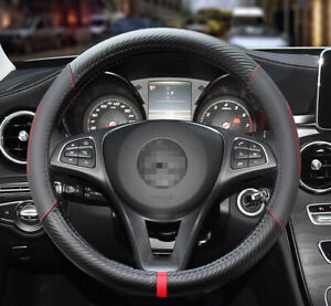 Universal Car Steering Wheel Cover Red Stiching Carbon Fiber Black Leather 38cm