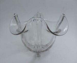 Art Deco Heavy Clear Glass Rose Bowl Vase 4 Ribs Panels Vintage