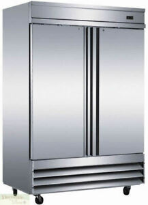 Freezer Two Solid Doors Restaurant 54 W 46 5 Cu Ft Stainless Auto defrost New