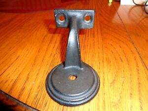 Vintage Heavy Cast Iron Hand Rail Banister Bracket Hook Arm Black In Color Exc