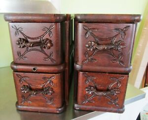 Lot Of 4 Treadle Sewing Machine Wood Drawers Ornate