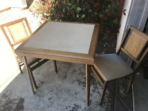 Vintage Mid Century Modern Eames Era Stakmore Folding Table 2 Chairs Cane Back