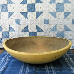 Lg Early Antique Dough Bowl W Rim Butter Yellow Milk Paint 14 3 4 Free Shipping