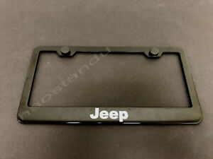 1x Jeep Black Stainless Metal License Plate Frame Screw Caps