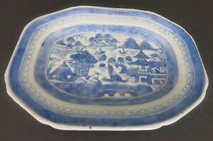 Antique Chinese Canton Export 8 75 X 6 5 Blue White Plate Dish Platter