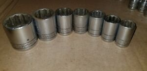 Vintage S K Tools 7 Pc 1 2 Drive 12 Point Socket Set Free Shipping