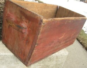 Antique Rustic Lg Wooden Multi Use Trencher Box Etc Old Red Paint Square Nails