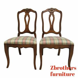Pair Ethan Allen Country French Dining Room Side Chairs B