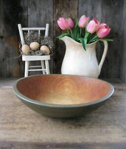Large Antique Dough Bowl With Rim Moss Green Milk Paint 13 1 4 Free Shipping