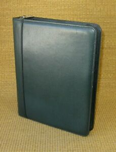 Classic 1 5 Rings Green Leather Franklin Covey quest Zip Planner binder Usa