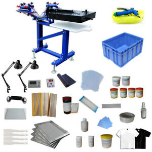 Screen Printing 4 Color Press Kit Vertical Printer With Dryer Exposure Tool