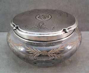 Antique Victorian Wm B Kerr Sterling Silver Cut Glass Powder Dresser Vanity Jar