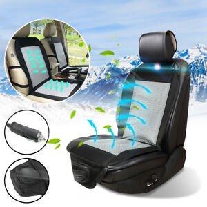 Cooling Car Seat Cover Cushion Summer Cooler Pad Wind Seat Chair Black Cover 12v
