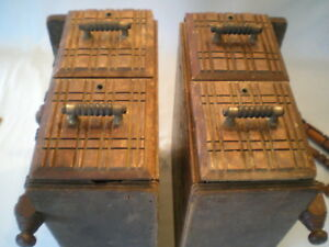 Set Of 2 Antique Vtg Wooden Treadle Sewing Machine Drawers 4 Drawers In All