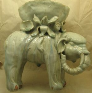 Antique Chinese Elephant Figure Brush Pot